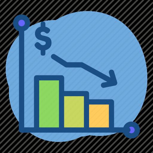 banking, chart, dollar, down, price icon