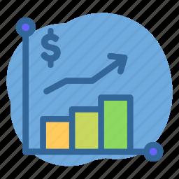 banking, chart, dollar, price, up icon