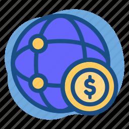 banking, dollar, link, money, world icon