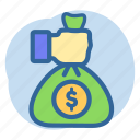banking, giving money, money, pouch icon