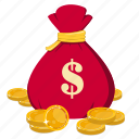 bag, coin, dollar, money, money bag icon