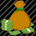 bag, bank, money, money bag, notes