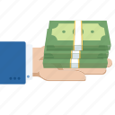 cash, hand, money, money in hand, notes, profit icon
