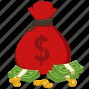 bag, cash, currency, dollar, money, money bag, profit