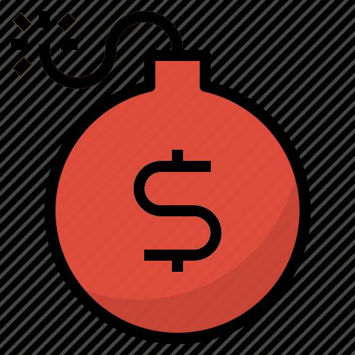 bomb, business, debt, finance icon
