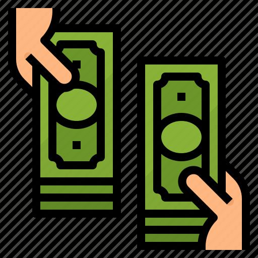 dollars, exchange, money, payment icon
