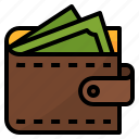 dollars, money, payment, wallet icon