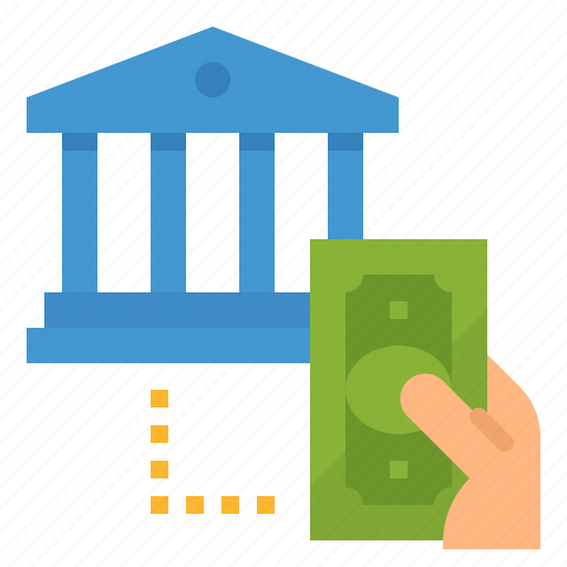 bank, dollars, money, payment, withdraw icon