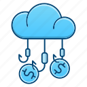 cloud, fishing, funds, hunting, money icon