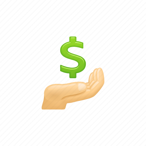 dollar, donation, hand, loan, payment icon