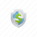 dollar, insurance, investment, savings, security, shield icon