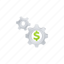 business, cogs, dollar, finance, gears icon