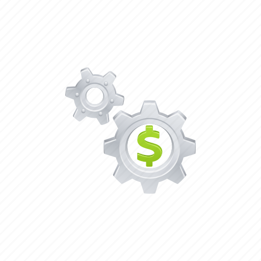 business, cogs, dollar, finance, gears icon