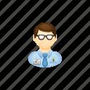 accountant, banker, glasses, job, man icon