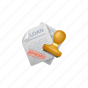approved, bank loan, contract, document, loan, stamp icon