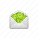 bribe, cash, envelope, money, payment, tax icon