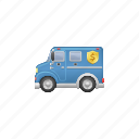 armored, armored truck, armored van, bank, truck, van icon