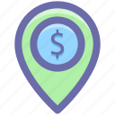 dollar, gps, location, location marker, location pin, location pointer, navigation icon