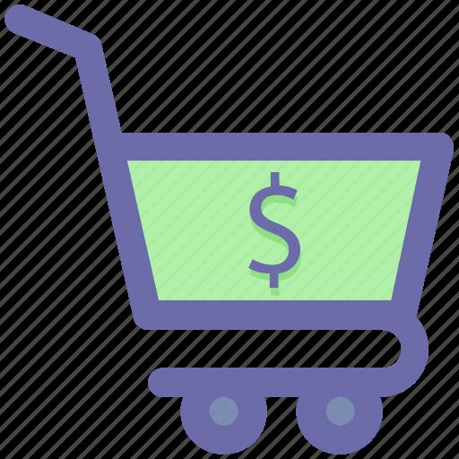 basket, cart, dollar, finance, shopping, shopping cart icon