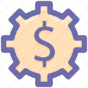 cog, dollar, gear, money, online, setup, work icon