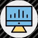 analytics, business, chart, computer, improving, monitoring, statistics icon