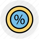 divided, percentage, percentage sign, pointer, present, sell, symbols icon