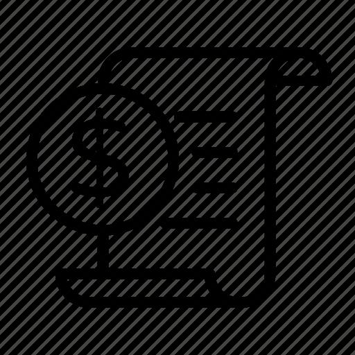 bank, document, dollar, money, paper, statement icon