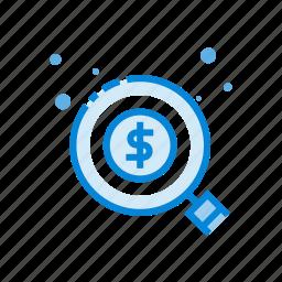 business, dollar, finance, marketing, money, search icon