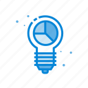 bulb, business, chart, graph, solution icon