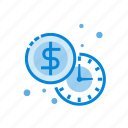 clock, coin, dollar, money, time icon