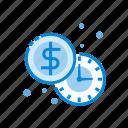 coin, money, time, clock, dollar