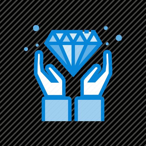 Diamond, hands, value, gemstone icon - Download on Iconfinder