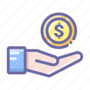 coin, coins, dollar, hand, money icon