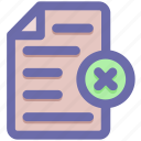 cross, document, file, page, paper, reject, sheet icon