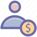 accounting, banking, businessman, dollar, people, person, user icon