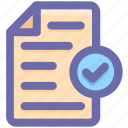 approve, confirm, document, file, page, paper, sheet icon
