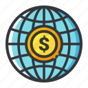currency, finance, global, investment, money icon