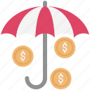 bank protection, banking security, business protection, finance protection, insurance, shad with coins, umbrella with coins icon