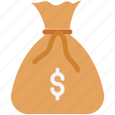 currency sack, dollar sack, earning bag, earning wallet, money bag, money sack, wealth icon