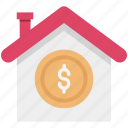 bank, building, court, dollar on building, house for sale, house value, real estate icon