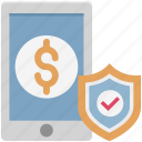 banking protection, dollar in mobile, mobile banking protection, mobile protection icon