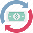 dollar refresh, dollar sign, economy, finance, synchronization icon