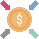 arrows direction, dollar, finance, financial concept, money exchange icon