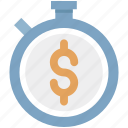 chronometer, dollar with stopwatch, money, tax reminder, time is money, timepiece icon
