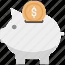 cash bank, coin in piggy bank, money bank, money box, penny bank, piggy bank, piggy insert coin icon