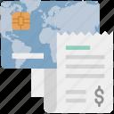 credit card bill, credit card invoice, credit card receipt, dollar, online payment, receipt, voucher icon