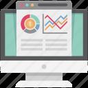 bar chart, bar graph, business graph, graph, laptop, online graph, progress chart icon