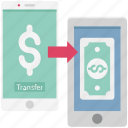 mobile banking arrow, mobile to mobile transfer, money transfer app, money transfer via mobile, online banking, online money transfer icon