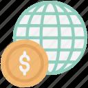 dollar, economy, exchange rate, global business, global finance icon
