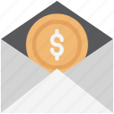 coin in envelope, dollar email, dollar in envelope, financial email, payment email icon